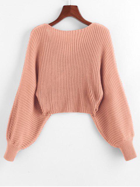 womens Twist Asymmetric Crop Sweater - ROSE M Mobile