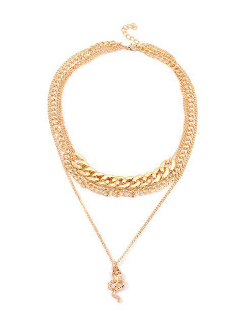Цепное ОжерельеСподвеской змеи - Золотой  Mobile