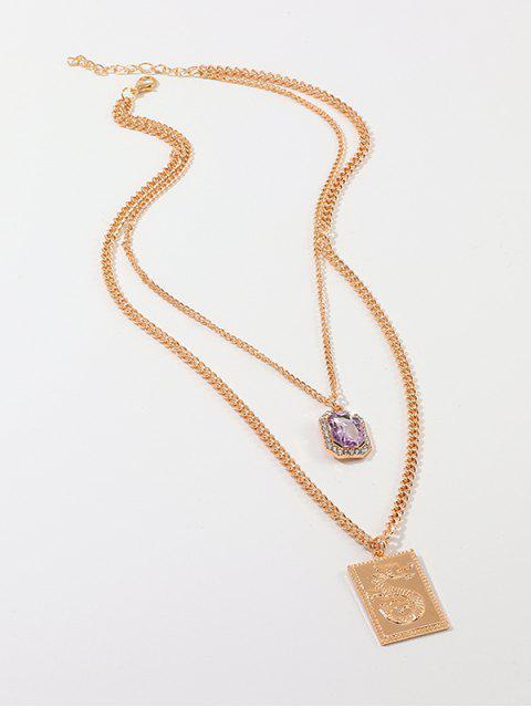 Китайский стиль Дракон Квадратная подвеска Ожерелье - Золотой  Mobile