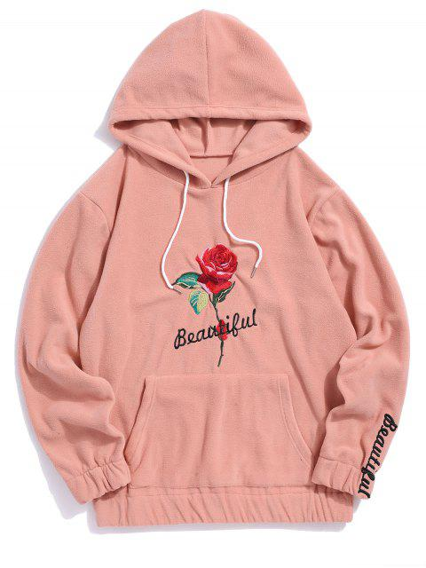 玫瑰刺繡信連帽衫 - 深桃 L Mobile