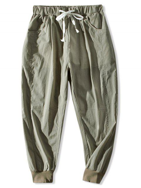 buy Letter Pattern Drawstring Jogger Pants - CAMOUFLAGE GREEN 2XL Mobile