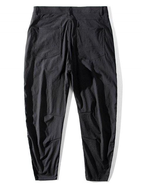 women's Japanese Letter Pattern Pocket Casual Pants - BLACK 38 Mobile