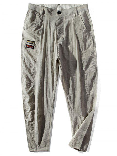 best Japanese Letter Pattern Pocket Casual Pants - LIGHT KHAKI 36 Mobile