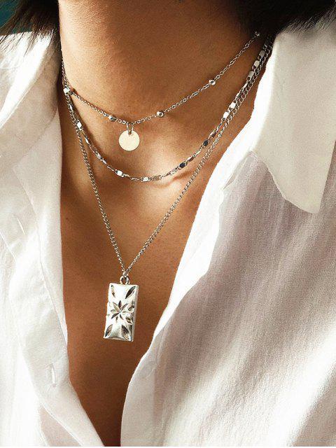 Многослойное Цепное Ожерелье С диском - Серебряный  Mobile