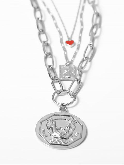 Сердце Круг С подвеской Многослойное Ожерелье - Серебристый  Mobile