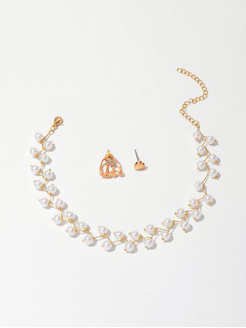 Искусственный жемчуг Чокер Асимметричное Ожерелье Сердце Серьги - Золотой  Mobile