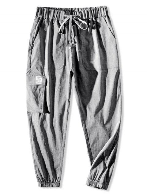 hot Graphic Pattern Drawstring Pocket Jogger Pants - LIGHT GRAY 3XL Mobile