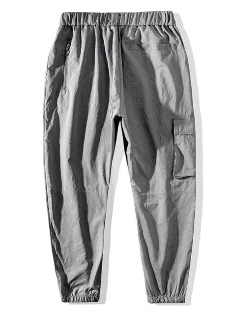 affordable Graphic Pattern Drawstring Pocket Jogger Pants - LIGHT GRAY L Mobile