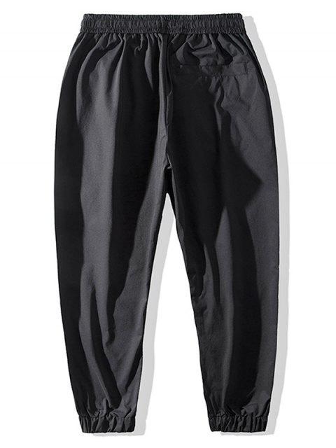 休閒圖形圖案慢跑褲 - 黑色 XL Mobile