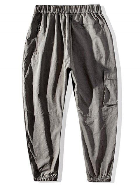 womens Graphic Pattern Drawstring Pocket Jogger Pants - KHAKI XL Mobile
