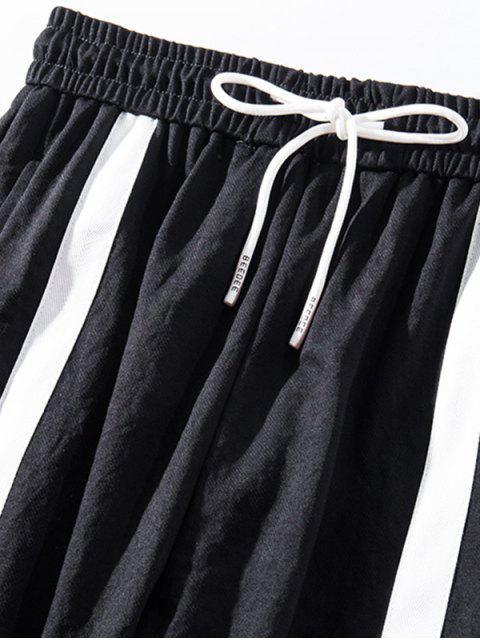 色塊抽繩短褲慢跑者 - 黑色 2XL Mobile