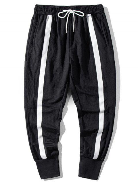 outfit Color Blocking Drawstring Jogger Pants - BLACK 2XL Mobile