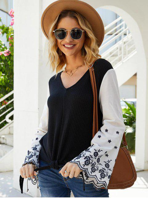lady Flare Sleeve Tie Hem Embroidered Blouse - BLACK XL Mobile