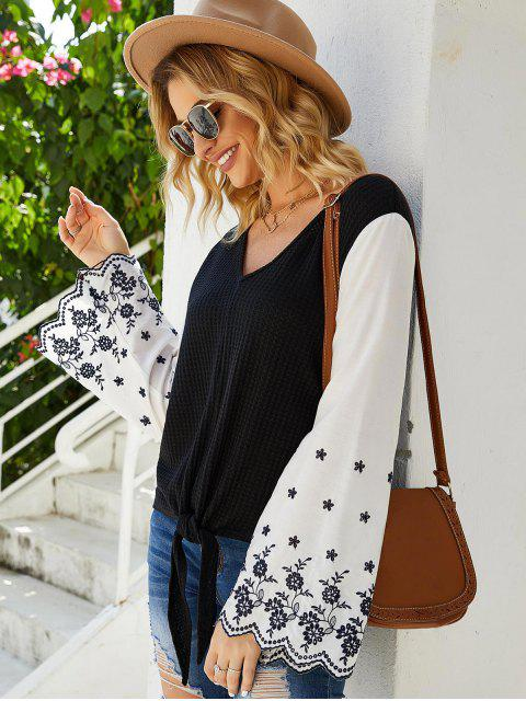 shop Flare Sleeve Tie Hem Embroidered Blouse - BLACK S Mobile