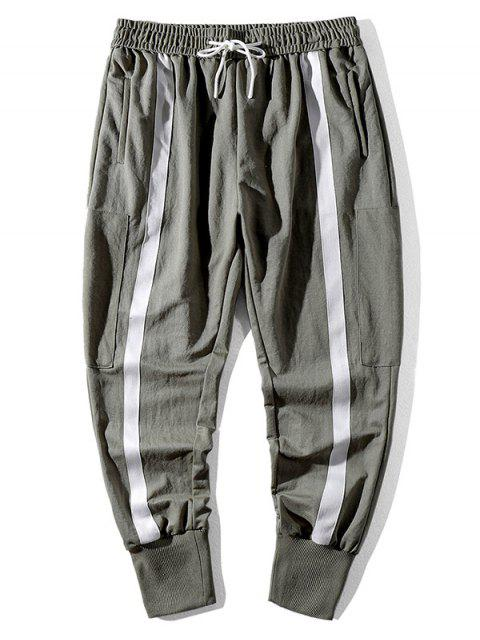 best Color Blocking Drawstring Jogger Pants - CAMOUFLAGE GREEN M Mobile