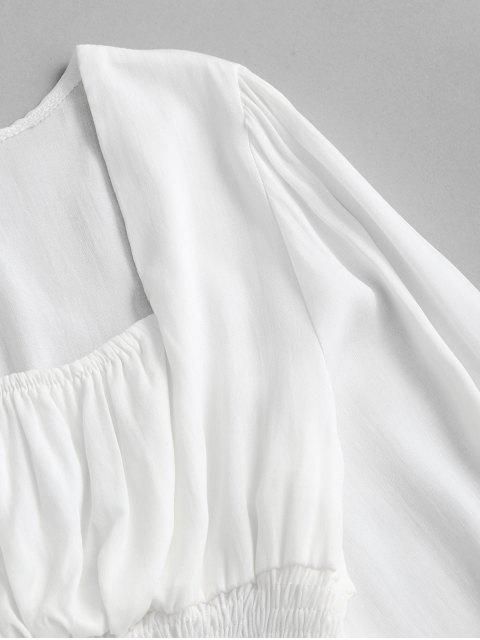 shops Smocked Peplum Hem Milkmaid Blouse - WHITE M Mobile
