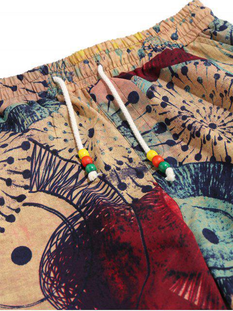 Pantalones Casuales de Estampado de La Novedad - Multicolor XL Mobile