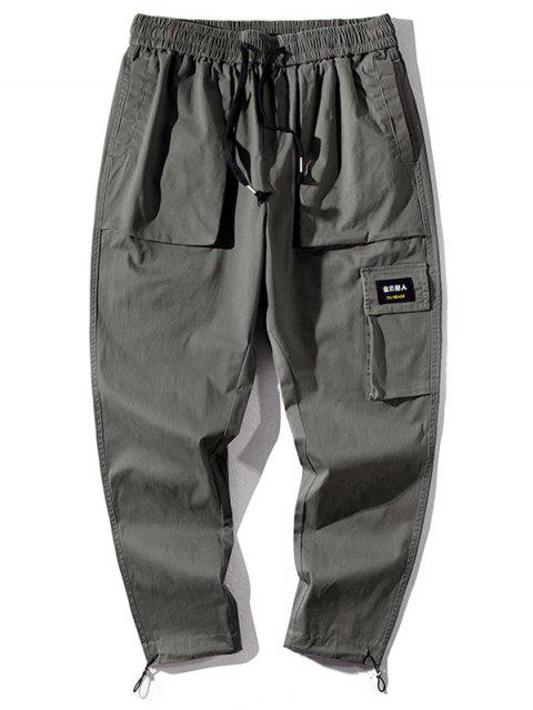 latest Letter Chinese Print Casual Pants - ARMY GREEN 2XL Mobile