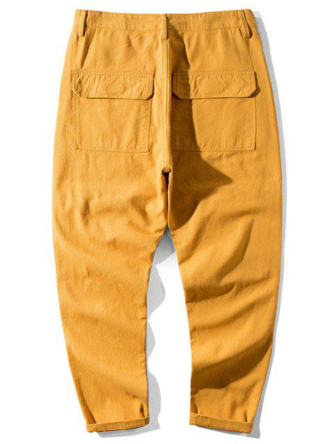 fancy Casual Letter Pattern Pocket Decorated Pants - BEE YELLOW 32 Mobile