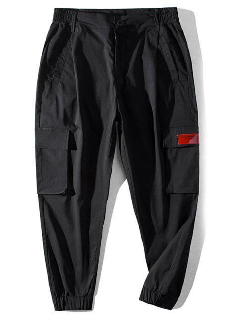 lady Letter Pattern Pocket Casual Pants - BLACK 2XL Mobile
