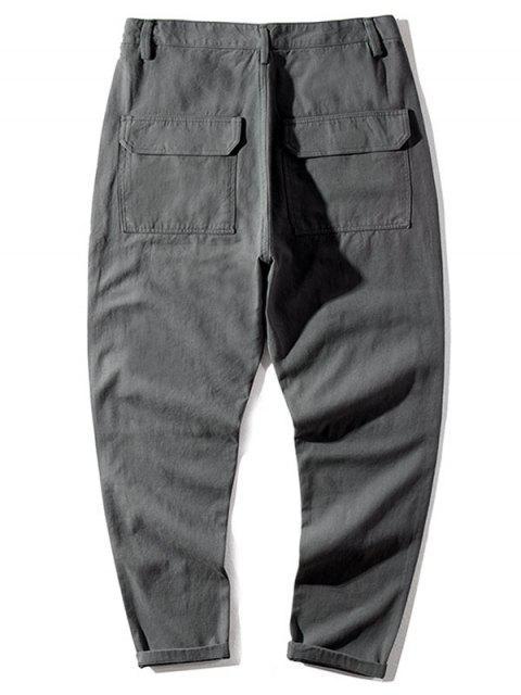 休閒信件模式口袋裝飾的女褲 - 灰色 38 Mobile