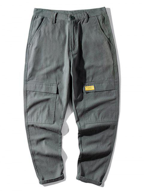 shops Casual Letter Pattern Pocket Decorated Pants - GRAY 36 Mobile