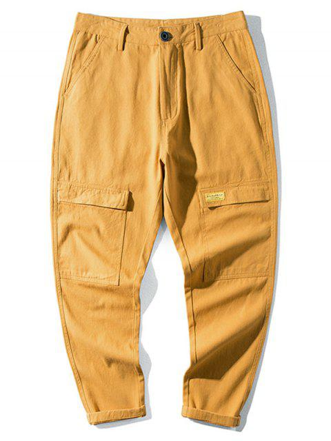 latest Casual Letter Pattern Pocket Decorated Pants - BEE YELLOW 36 Mobile