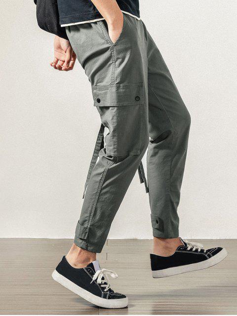 Pantalones de Carga con Solapa de Bolsillo de Color Sólido - Nube Gris M Mobile