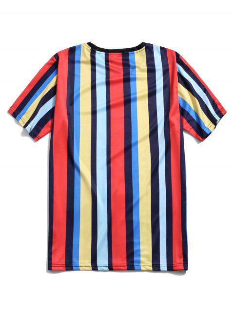 Colorblock條紋休閒短袖T卹 - 多-A L Mobile