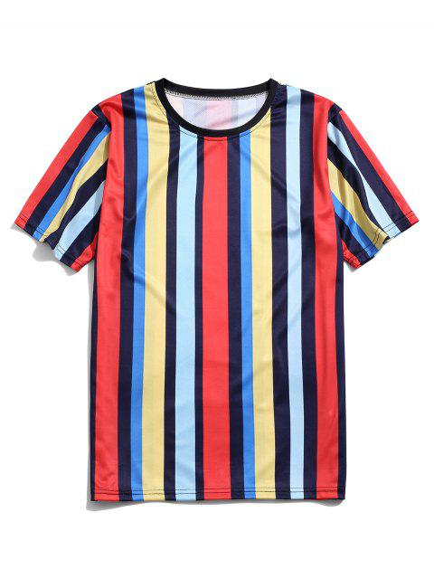 chic Colorblock Striped Casual Short Sleeve T-shirt - MULTI-A 3XL Mobile