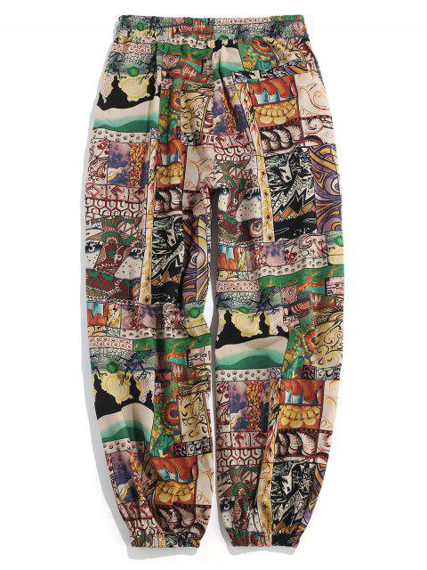 affordable Patchworks Painting Printed Casual Pants - MULTI L Mobile