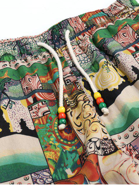 Pantalones Casual Estampado Pintura Parches - Multicolor 2XL Mobile