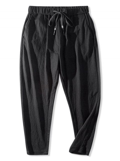 best Casual Solid Color Elastic Waist Pants - BLACK L Mobile