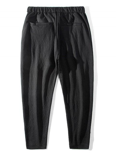 outfits Casual Solid Color Elastic Waist Pants - BLACK S Mobile