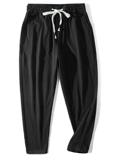 Pantalones Casuales Cintura Elástica Patrón Chino - Negro L Mobile
