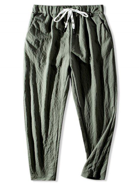 Pantalones Casuales Cintura Elástica Color Sólido - Verde Camuflaje 3XL Mobile
