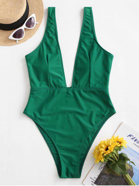 高切切入領泳裝 - 綠色 M Mobile