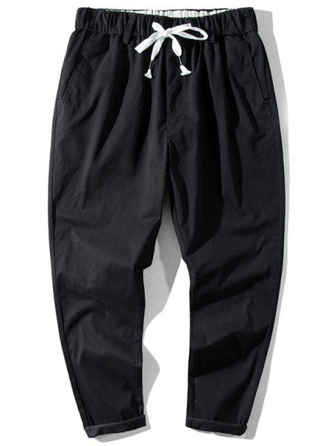lady Solid Color Elastic Waist Jogger Pants - BLACK XL Mobile