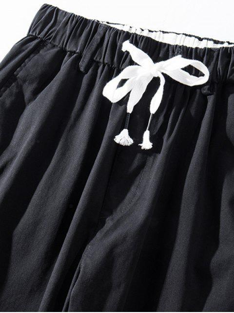 unique Solid Color Elastic Waist Jogger Pants - BLACK L Mobile