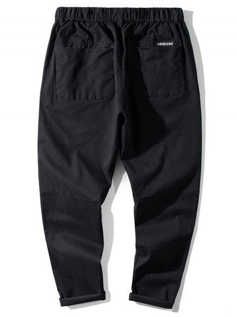 Pantalones Jogger de Cintura Elástica de Color Sólido - Negro L Mobile