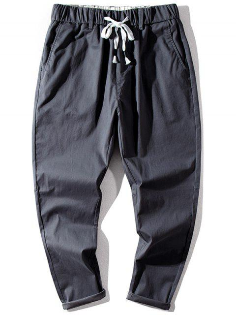 online Solid Color Elastic Waist Jogger Pants - JET GRAY XL Mobile