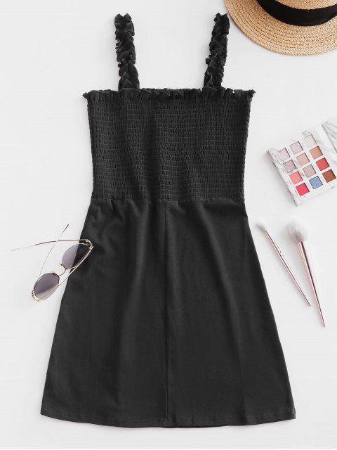 Mini Vestido de Oscilación de Bata con Volantes - Negro M Mobile