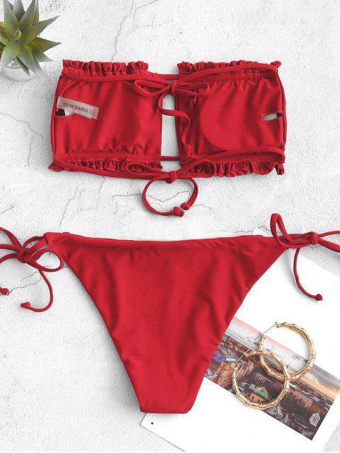shops ZAFUL Ruffle Tie Side Low Waisted Bandeau Bikini Swimsuit - LAVA RED M Mobile