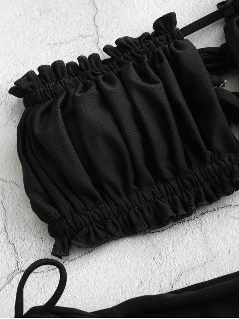 best ZAFUL Ruffle Tie Side Low Waisted Bandeau Bikini Swimsuit - BLACK M Mobile