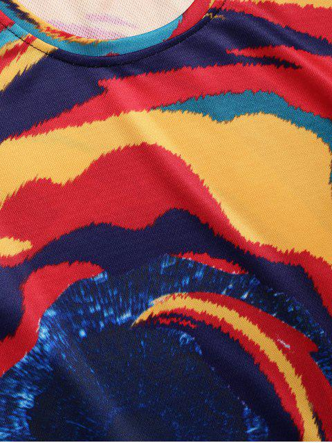 womens Tie Dye Print Short Sleeve T-shirt - MULTI-A 3XL Mobile