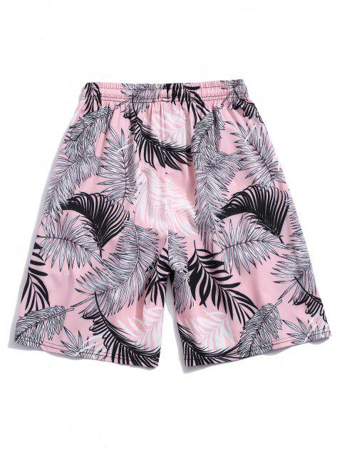 ladies Tropical Leaf Printed Vacation Shorts - LIGHT PINK S Mobile