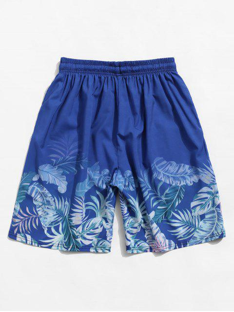 best Tropical Leaf Print Vacation Shorts - SILK BLUE S Mobile
