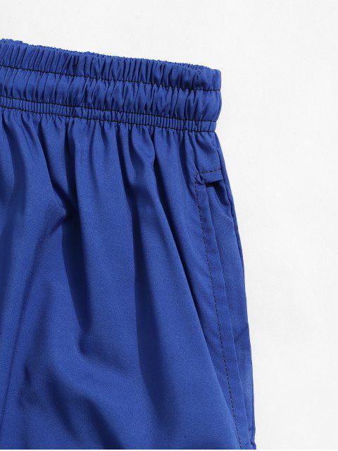 hot Tropical Leaf Print Vacation Shorts - SILK BLUE XL Mobile