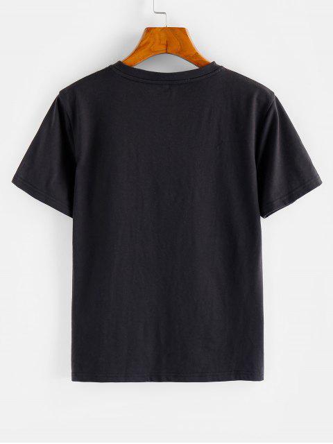 ZAFUL T-shirt Graphique Soleil Fleuri Imprimé - Noir XL Mobile
