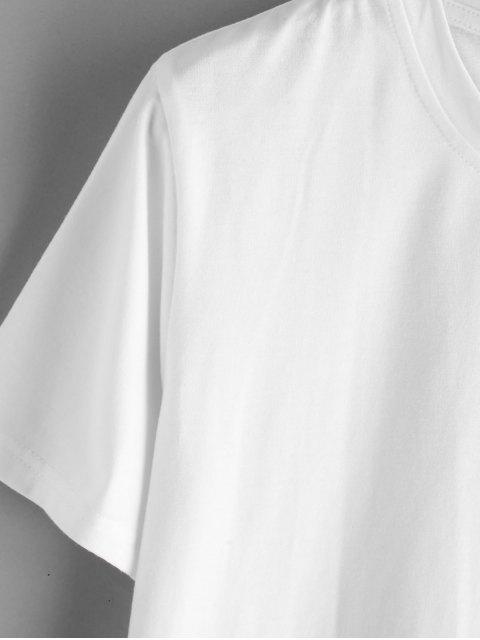 ZAFUL T-shirt Lettre Lune et Soleil à Col Rond - Blanc L Mobile